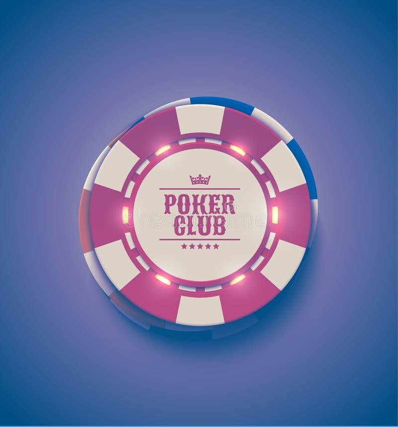 För kasinopoker för vektor röda vita chiper med lysande ljusa beståndsdelar, bästa sikt Retro lilaeffekt Pokerklubbatext, tappnin royaltyfri illustrationer