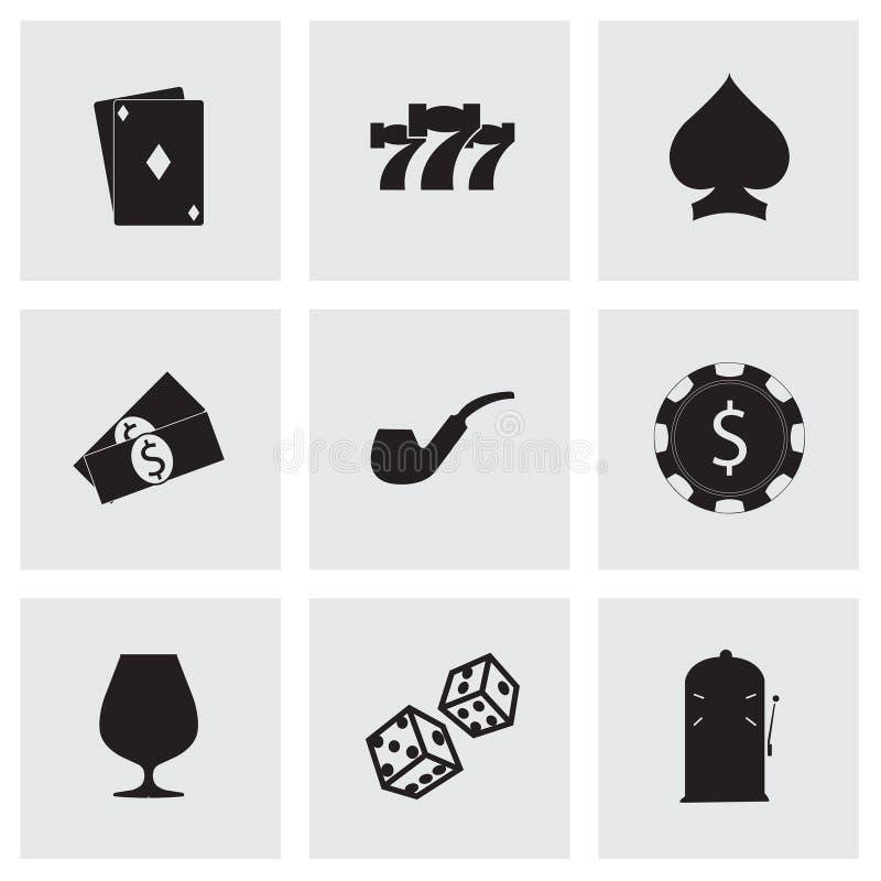 För kasinosymboler för vektor svart uppsättning stock illustrationer