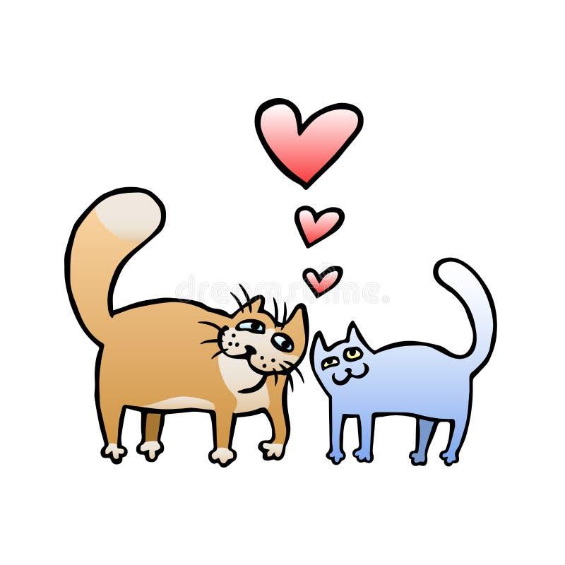 För kattvektor för tecknad film förälskad illustration stock illustrationer