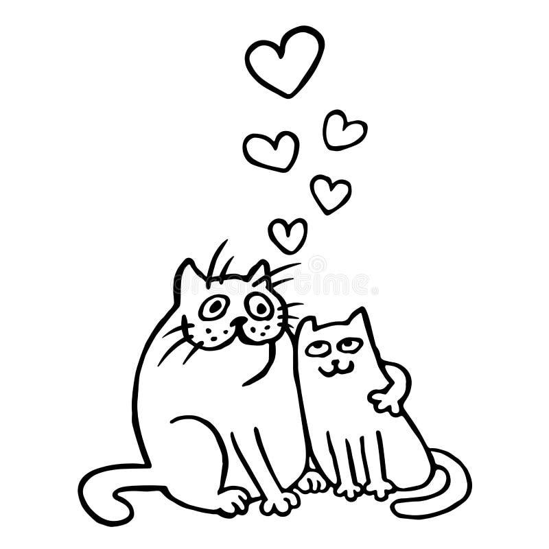 För kattvektor för tecknad film förälskad illustration royaltyfri illustrationer