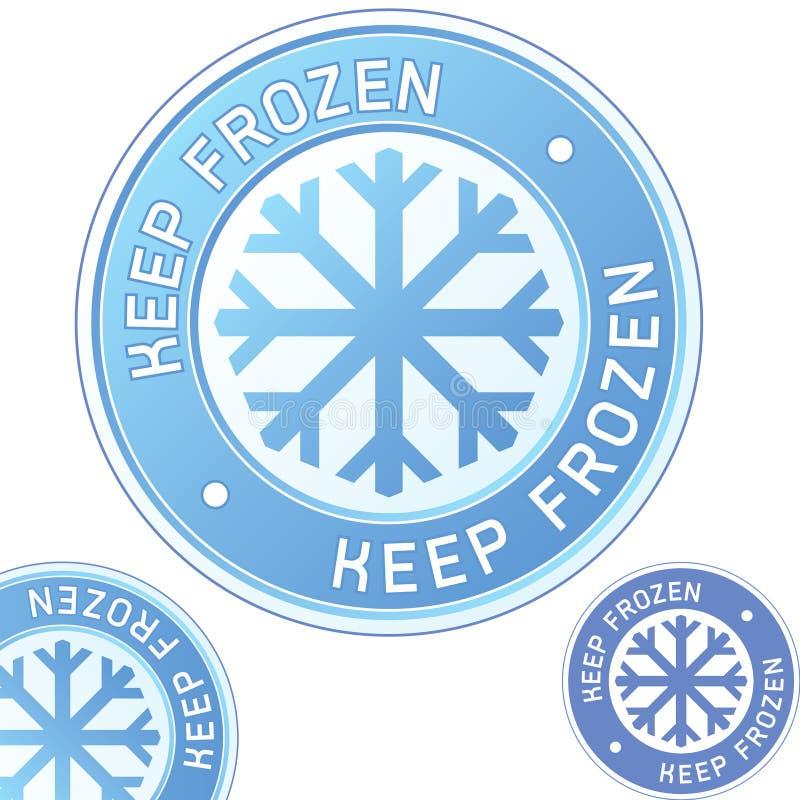 för keepetikett för emblem mat fryst emballage royaltyfri illustrationer