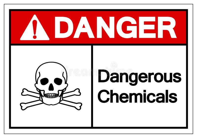 För kemikaliesymbol för fara farligt tecken, vektorillustration, isolat på den vita bakgrundsetiketten EPS10 stock illustrationer