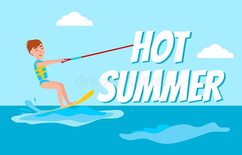 För Kitesurfing för varm sommaraffisch vektor lycklig pojke stock illustrationer
