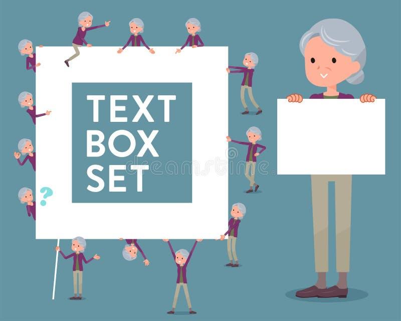 För klädergrandmother_text för plan typ purpurfärgad ask royaltyfri illustrationer