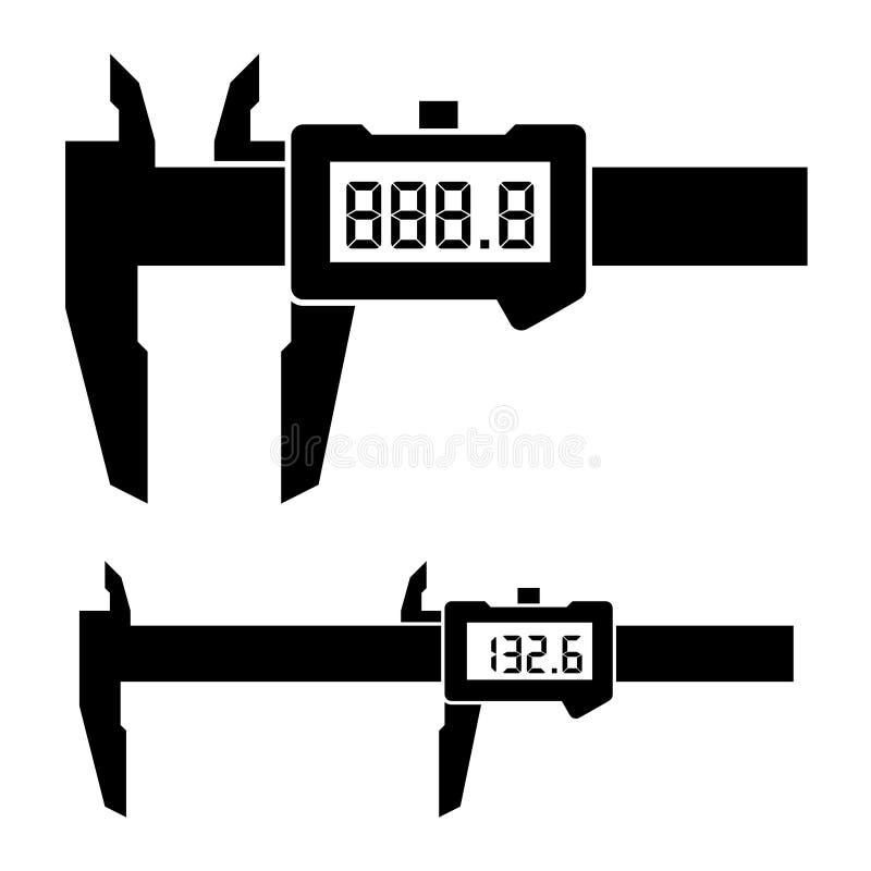 För klämmamikrometer för LCD elektronisk digital nonieskala för mått vektor illustrationer