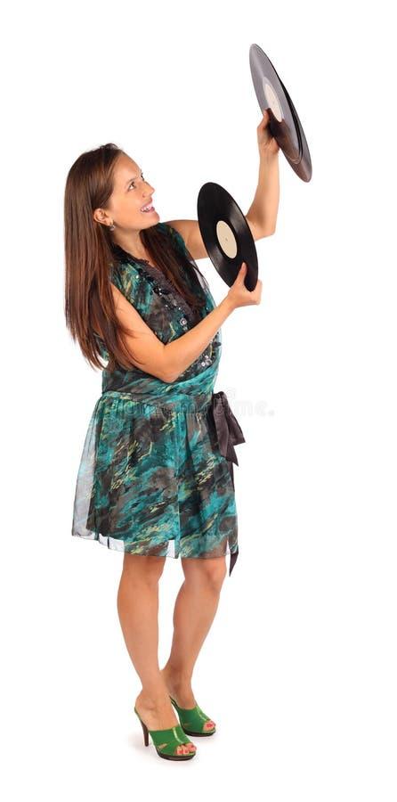 För klänninghåll för kvinna iklätt register royaltyfri fotografi