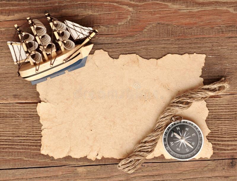 för klassisk gammalt paper rep kompassmodell för fartyg royaltyfri bild