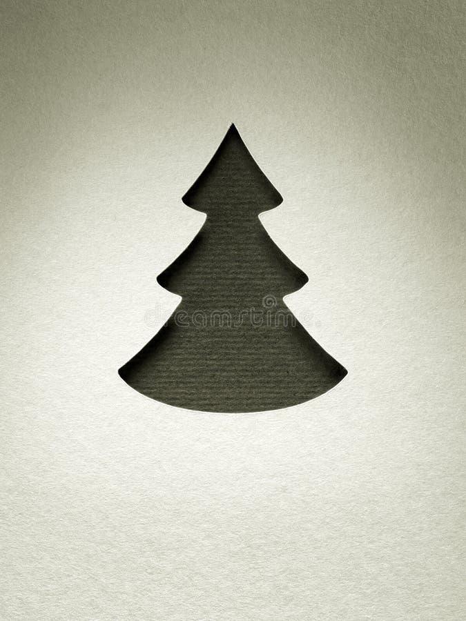 För klippdesign för julgran pappers- kort för monokrom för tappning royaltyfria foton