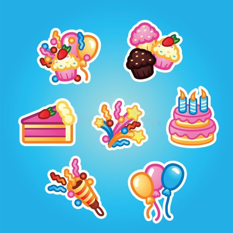 För klistermärkefödelsedag för uppsättning plan kaka med stearinljus för berömparti, kaka, konfektmuffin, färgrik ballong vektor illustrationer