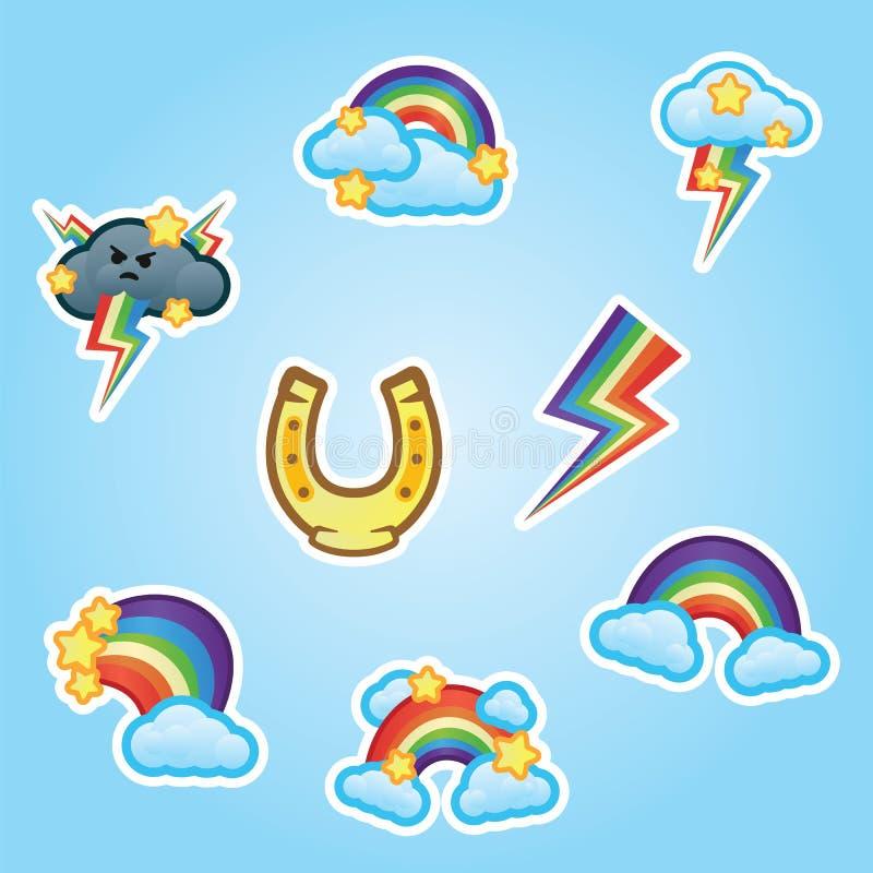 För klistermärkehäst för uppsättning plana sko, regnbåge, vitmoln och stjärnor, flerfärgade blixtslag från gråa åskmoln royaltyfri illustrationer