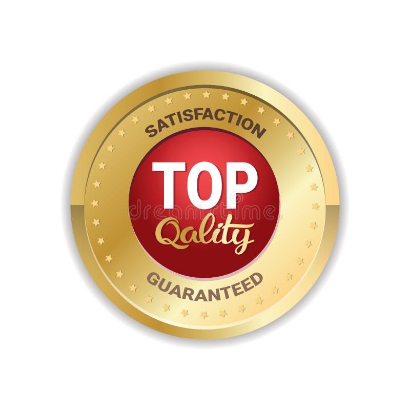 För klistermärkemedalj för av högsta kvalitet emblem isolerad guld- skyddsremsa för etikett för symbol royaltyfri illustrationer