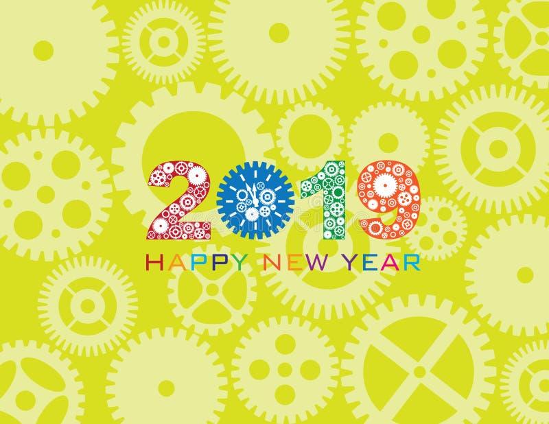 2019 för klockakugghjul för lyckligt nytt år illustration för vektor för färg stock illustrationer