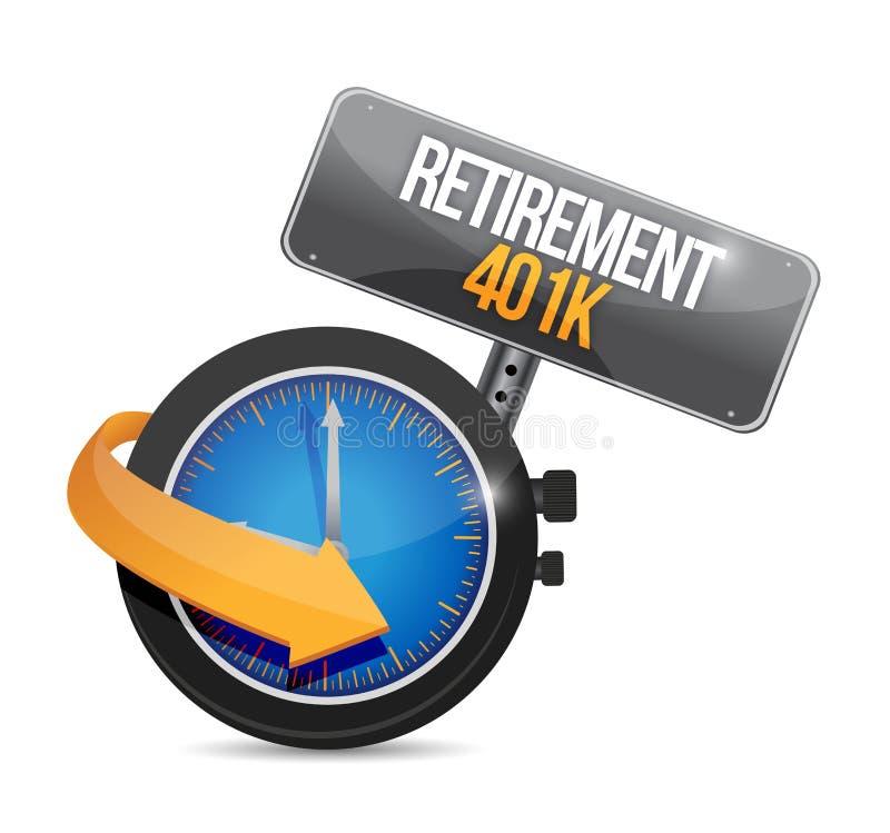 för klockatid för avgång 401k begrepp för tecken royaltyfri illustrationer