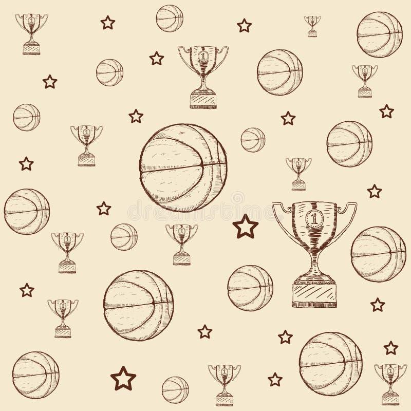 För klotterbasket för hand utdragen trofé, stjärna med bollillustrationen royaltyfri illustrationer