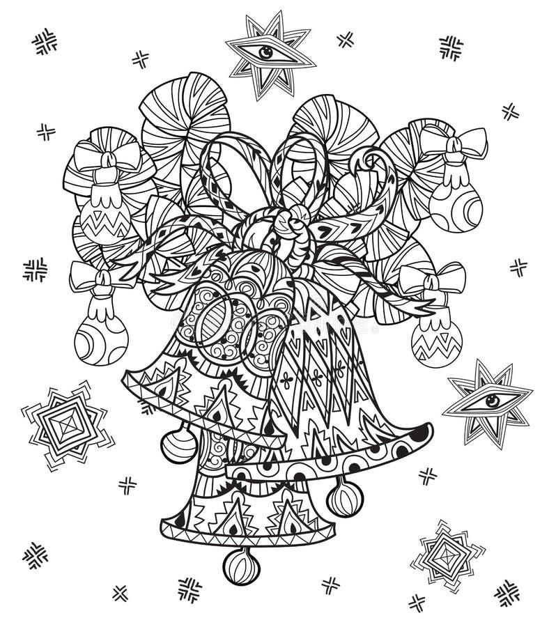 För klotterjul för vektor gulliga felika klockor stock illustrationer