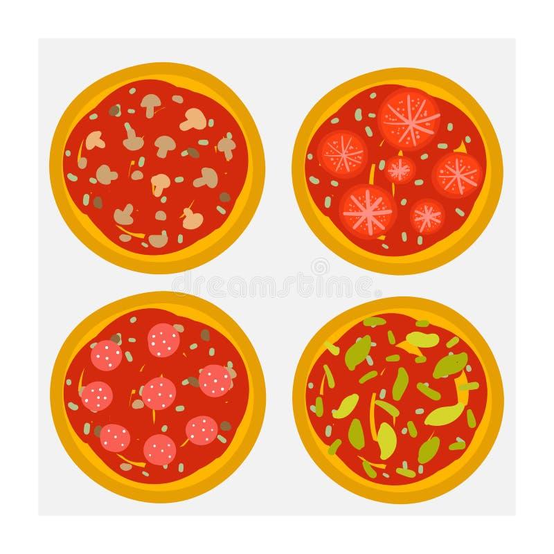 För klotterpizza för gullig hand utdragen uppsättning inklusive pizza med ost, grönsaker, champinjoner, tomater, salami Illustrat royaltyfri illustrationer