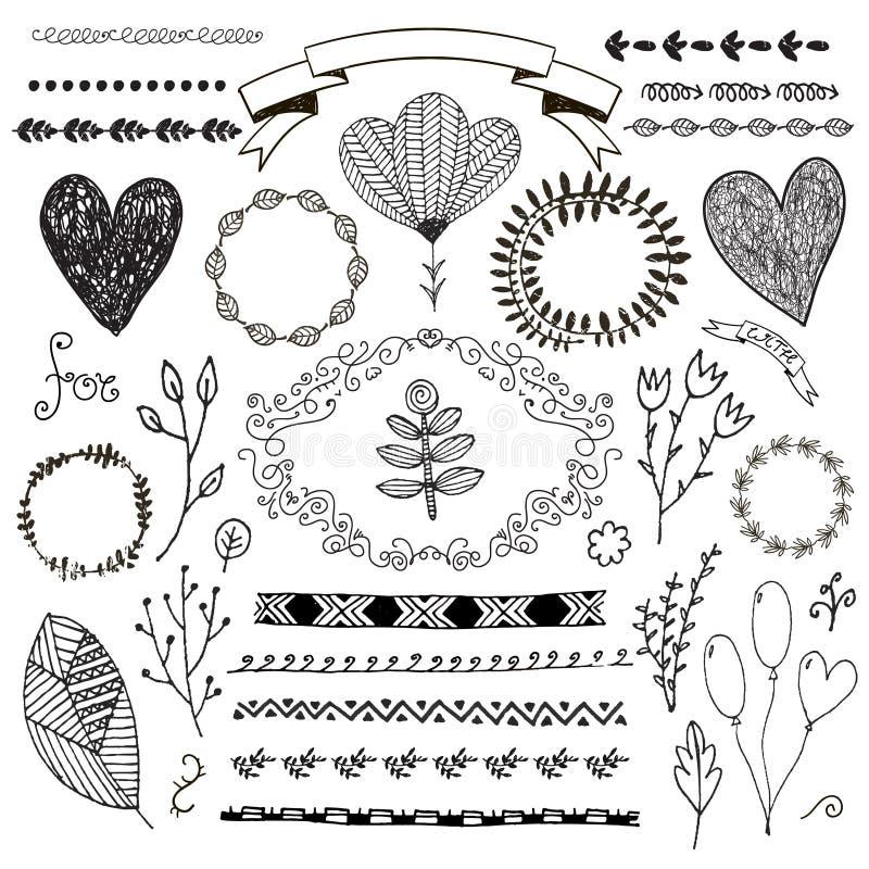 För klotterromantiker för vektor hand dragen uppsättning Linjär illustration - blommor, kransar, deviders, ramar, sidor vektor illustrationer