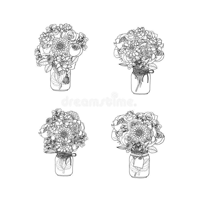 För klotterstil för hand utdragna buketter av olika blommor, suckulent, pion, ros, dahlia, materielblomma, söt ärta vektor illustrationer