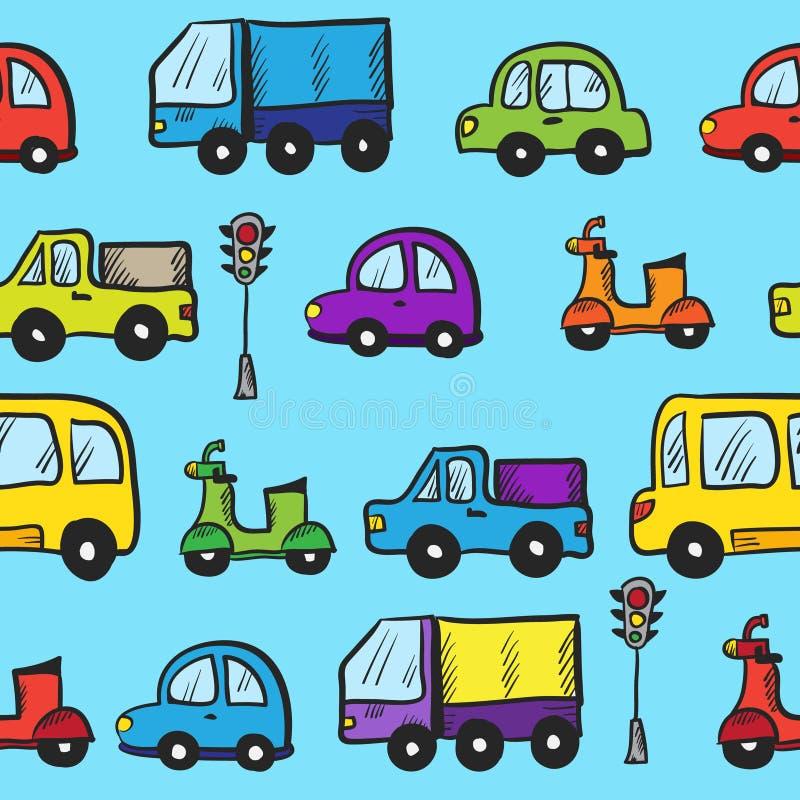 För klottertecknad film för vektor färgrik hand drog bilar royaltyfri illustrationer