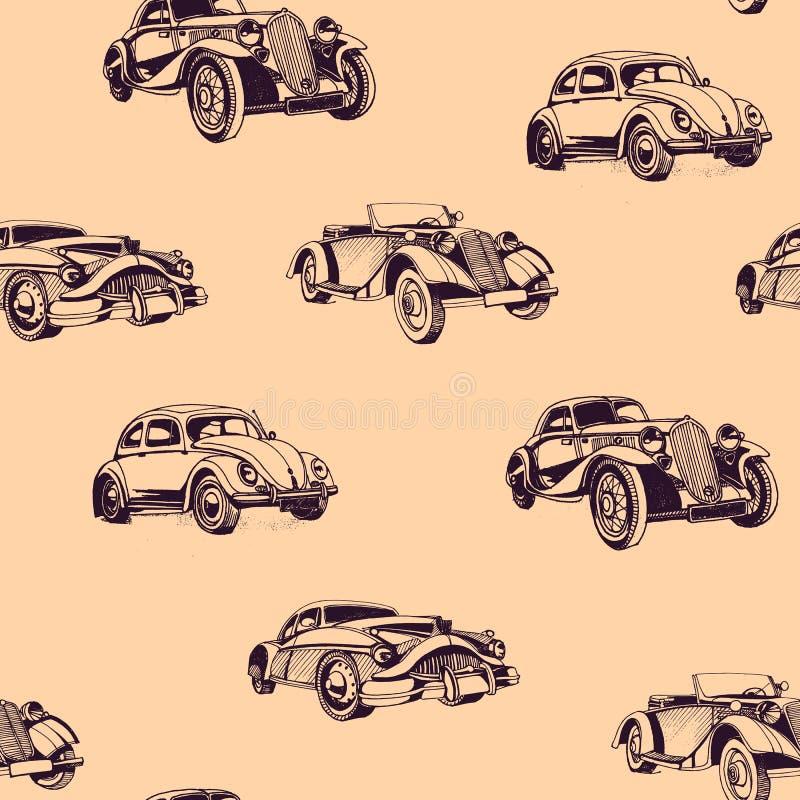 För klottertecknad film för hand sömlös modell för utdragna bilar Tapeten för behandla som ett barn pojken Transport skissar stock illustrationer