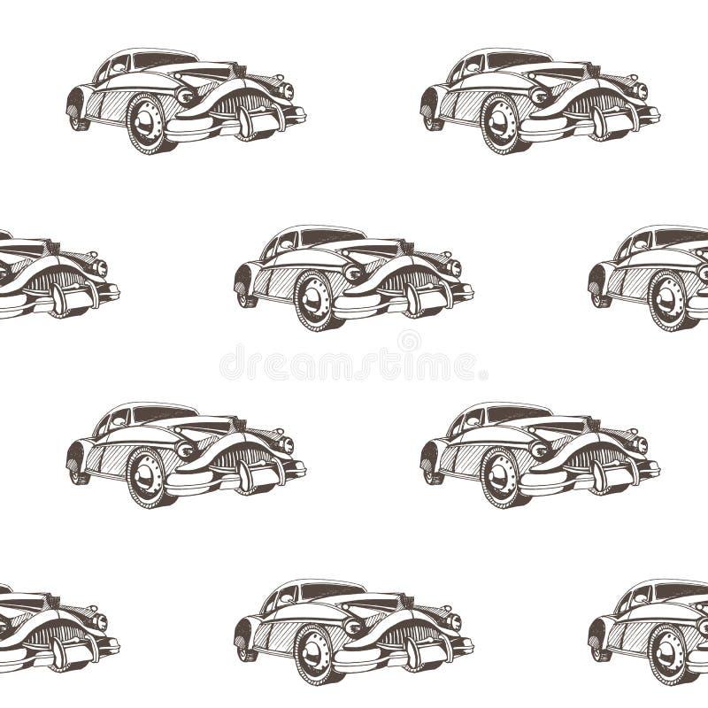 För klottertecknad film för hand sömlös modell för utdragna bilar Tapeten för behandla som ett barn pojken Transport skissar royaltyfri illustrationer