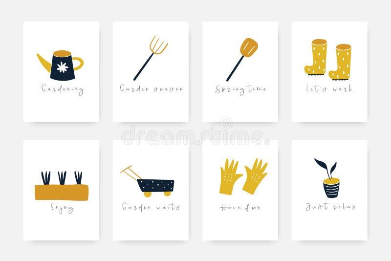 För klotterträdgård för hand utdragen samling för hjälpmedel inklusive gummistöveler, handskar, växter stock illustrationer