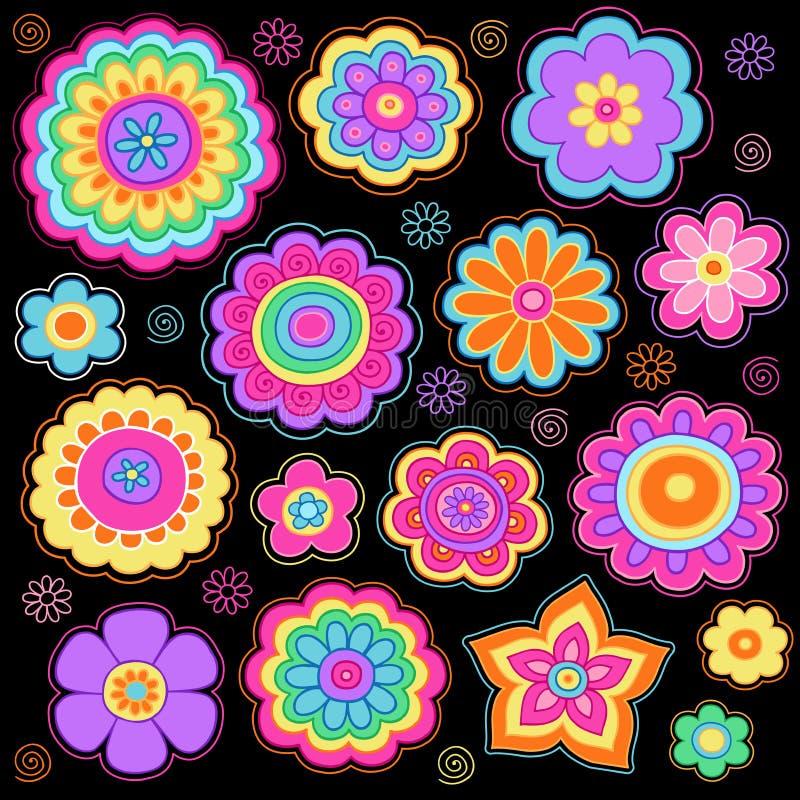 För klottervektor för Groovy blommor Psychedelic Set royaltyfri illustrationer