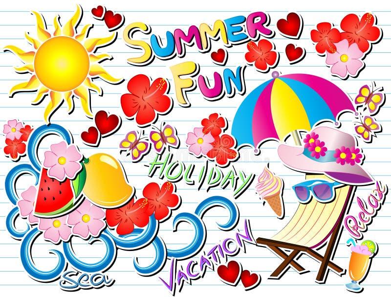 För klottervektor för sommar rolig illustration royaltyfri illustrationer