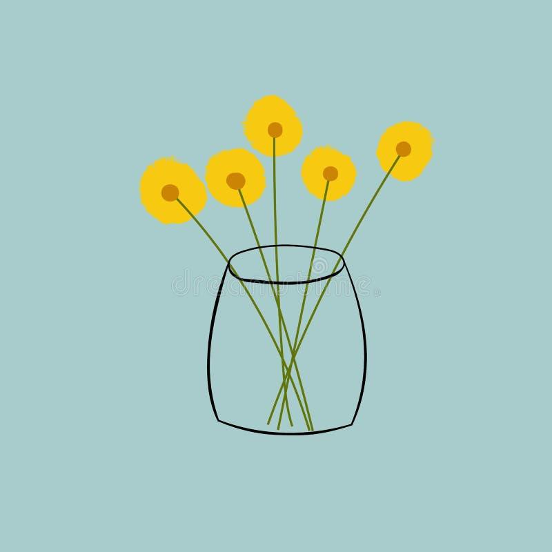 För klottervektor för hand utdragen illustration av buketten av fluffiga gula tusenskönor i genomskinlig vas på blueish grå bakgr vektor illustrationer