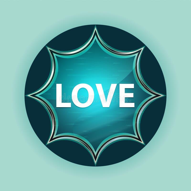 För knapphimmel för förälskelse magisk glas- sunburst blå bakgrund för blått royaltyfri illustrationer