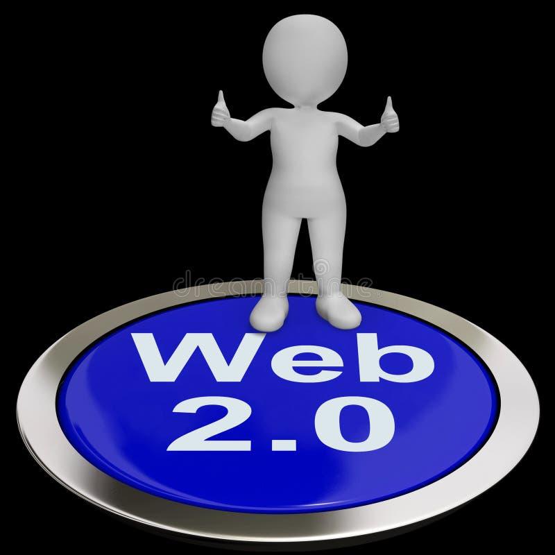 För knapphjälpmedel för rengöringsduk 2,0 version eller plattform för internet royaltyfri illustrationer