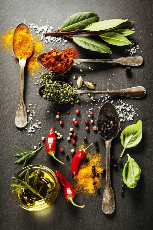 för kokkonstelement för tillsatser aromatiska kryddor för naturligt val för ingredienser för örtar för mat arkivbild