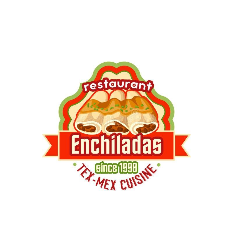 För kokkonstvektor för Enchiladas mexicansk symbol för snabbmat stock illustrationer