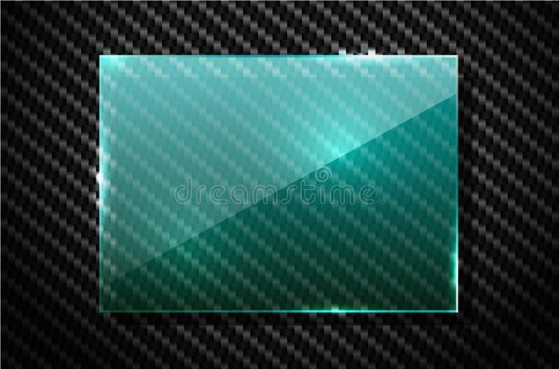 För kolfiber för vektor svart bakgrund med det gröna genomskinliga fyrkantiga banret för glass platta Illustration för industriel stock illustrationer