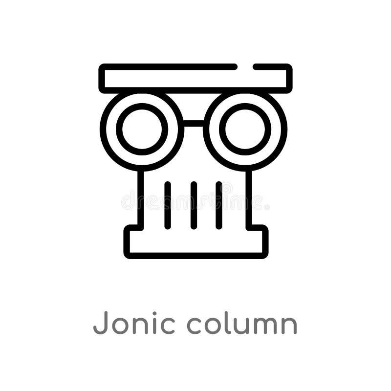 f?r kolonnvektor f?r ?versikt jonic symbol isolerad svart enkel linje best?ndsdelillustration fr?n det Grekland begreppet Rediger royaltyfri illustrationer