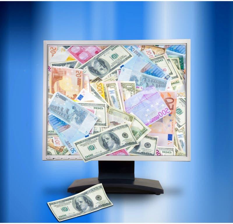 för kommersdator för bakgrund blå bildskärm för pengar för internet för begrepp e online Datorbildskärm med pengar Online-e-Co royaltyfria foton