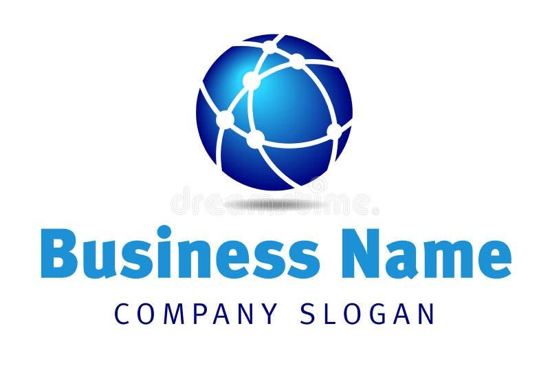För kommunikationsaffär för globalt nätverk logo stock illustrationer