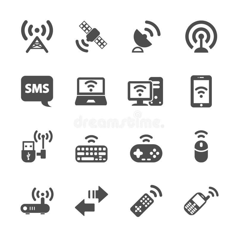 För kommunikationssymbol för trådlös teknologi uppsättning, vektor eps10 stock illustrationer