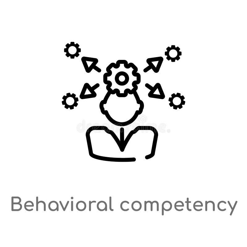 för kompetensvektor för översikt beteende- symbol isolerad svart enkel linje beståndsdelillustration från personalresursbegrepp r vektor illustrationer