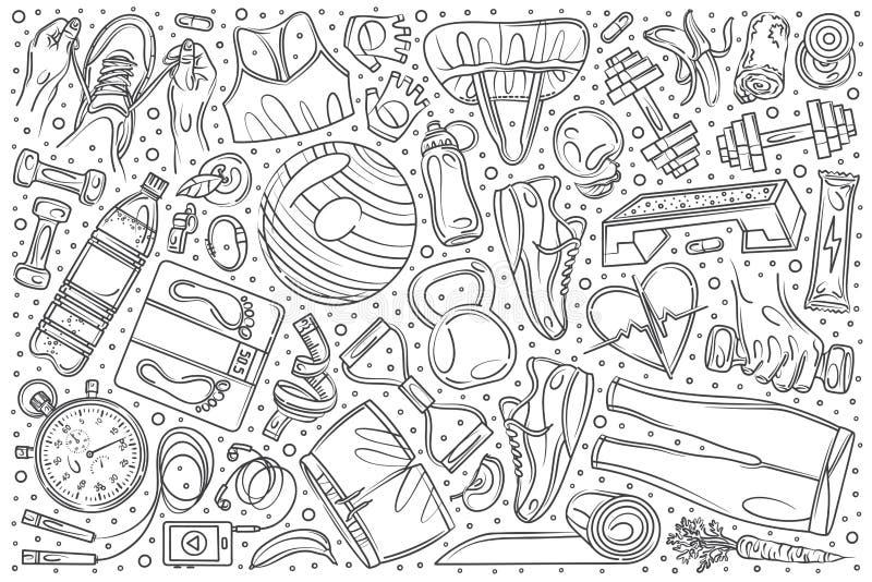 För konditionutbildning för hand utdragen bakgrund för vektor för klotter för uppsättning royaltyfri illustrationer