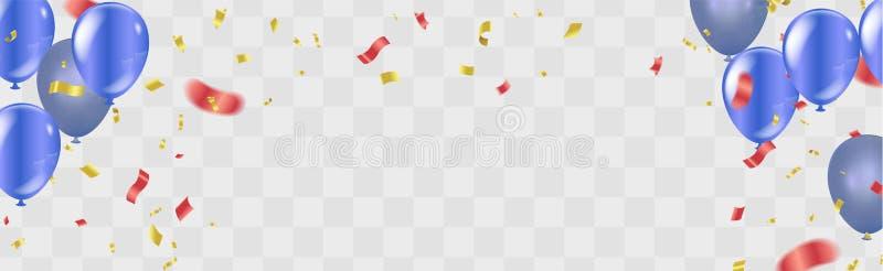 För konfettiberöm för lycklig födelsedag guld- illus för vektor för bakgrund vektor illustrationer