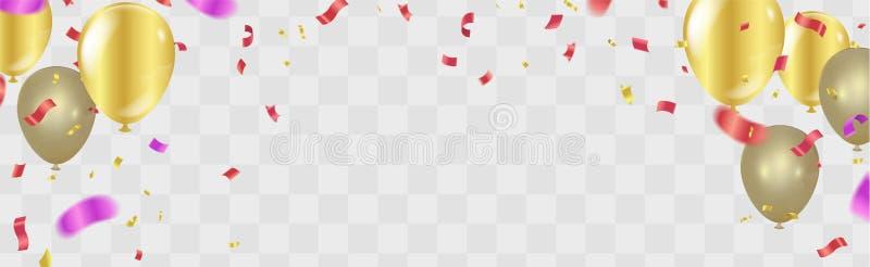 För konfettiberöm för lycklig födelsedag guld- illus för vektor för bakgrund royaltyfri illustrationer