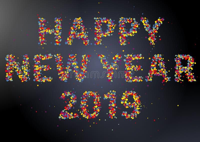 För konfettihälsning för lyckligt nytt år 2019 färgrikt kort vektor illustrationer