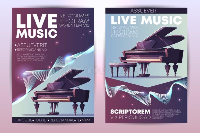 För konsertpromo för levande musik mall för vektor för broschyr royaltyfri illustrationer