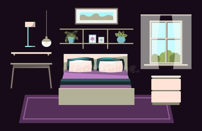För konstruktörgem för mysigt sovrum inre uppsättning för konst med möblemang - säng, nightstand, fönster med gardiner, tabell, h stock illustrationer