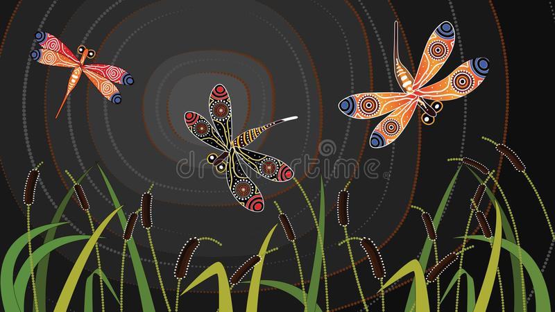 För konstvektor för slända infödd målning vektor illustrationer