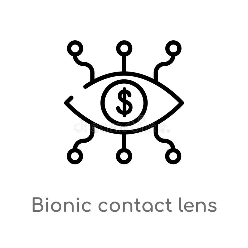 för kontaktlins för översikt bionisk symbol för vektor r redigerbart vektor illustrationer