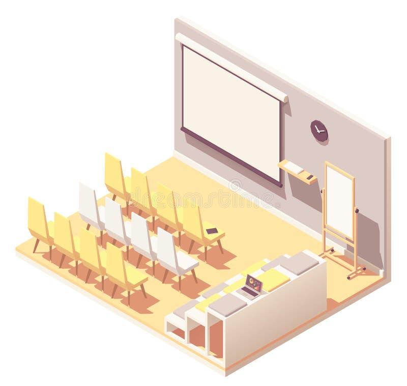För kontorspresentation för vektor isometrisk inre för rum vektor illustrationer