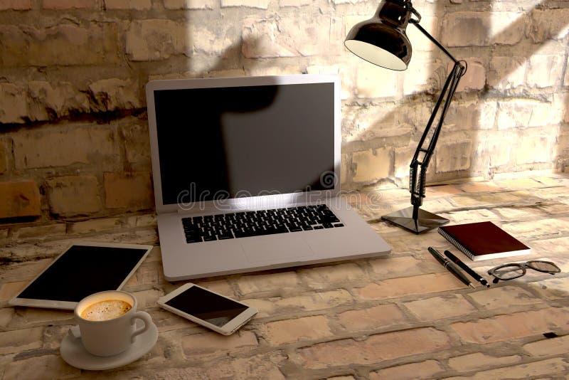 För kontorsskrivbord för bästa sikt titelrad för hjälte för svars- webdesign Lette arkivbild