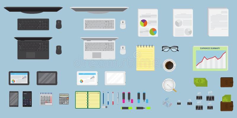 För kontorstabell för bästa sikt organisation för workspace Skapa din egen stil Fullständigt redigerbar EPS10 royaltyfri illustrationer